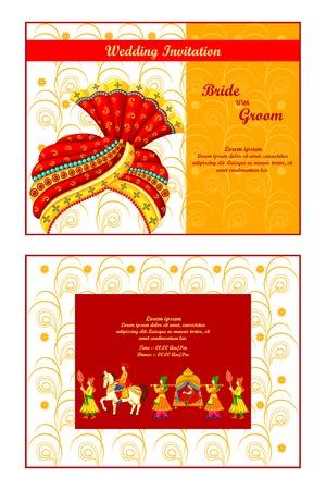 ilustración vectorial de tarjeta de invitación de boda india