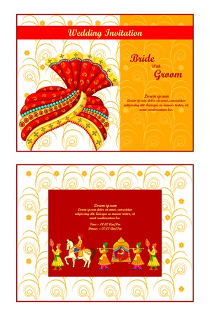 turban: vector illustration of Indian wedding invitation card