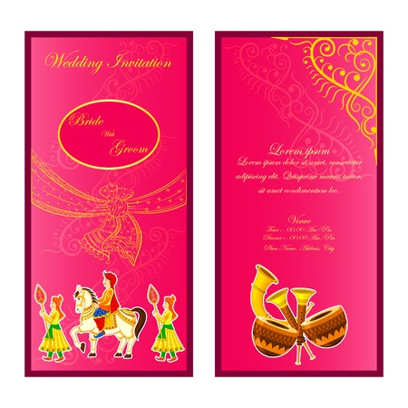 vector illustration of indian wedding invitation card royalty free cliparts vectors and stock illustration image 35121846 - Indian Wedding Invitation Cards