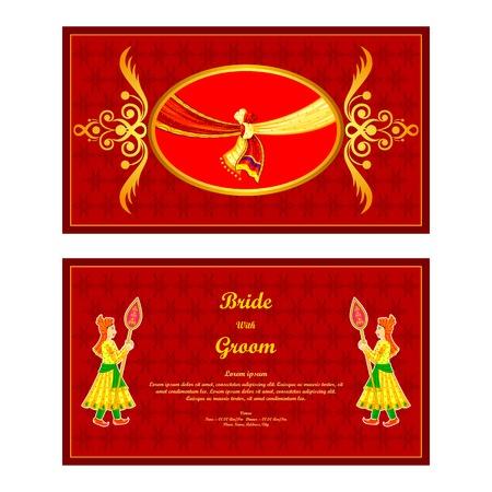 invitaci�n vintage: ilustraci�n vectorial de tarjeta de invitaci�n de boda india
