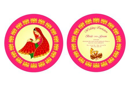 wedding ceremony: vector illustration of Indian wedding invitation card