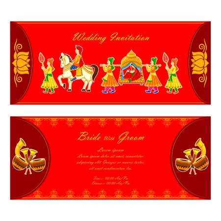 asian wedding couple: vector illustration of Indian wedding invitation card