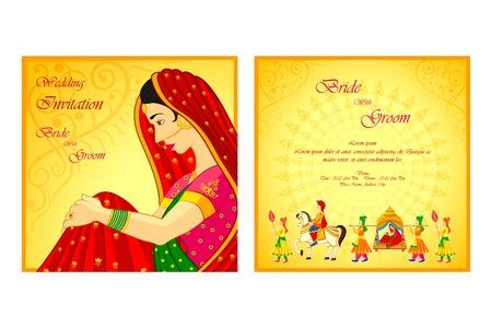 indian bride: vector illustration of Indian wedding invitation card