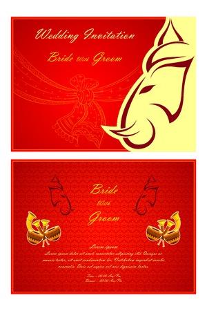 vector illustration of Indian wedding invitation card