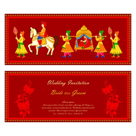 indian people: vector illustration of Indian wedding invitation card