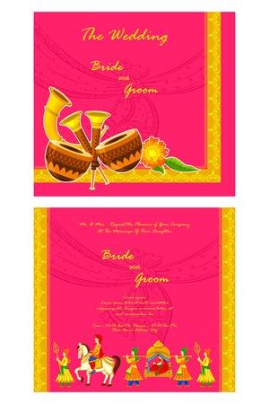 c�r�monie mariage: illustration vectorielle de mariage indien carton d'invitation