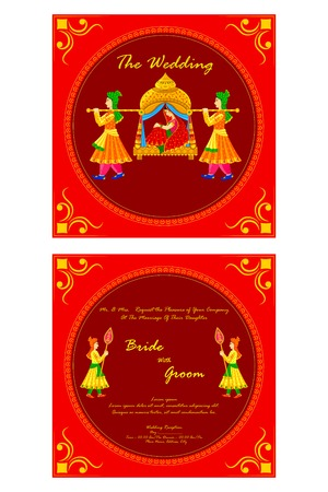 ornamental design: vector illustration of Indian wedding invitation card