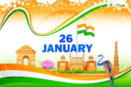 illustration of famous monument on India background Illustration