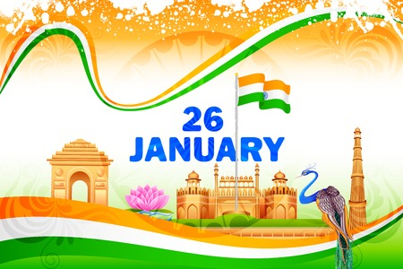 illustration of famous monument on India background Vectores