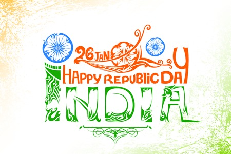 indian flag: illustration of floral swirl in Indian tricolor flag for Happy Republic Day