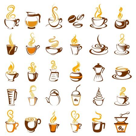 コーヒーのアイコンのコレクションのイラスト