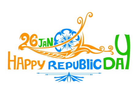 republic: illustration of floral swirl in Indian tricolor flag for Happy Republic Day
