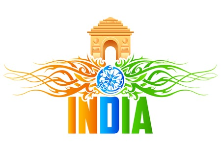 india gate: illustration of India Gate with tricolor floral swirl