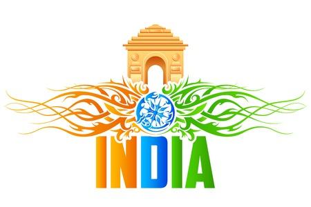 constitucion: ilustración de Puerta de la India con el tricolor remolino floral