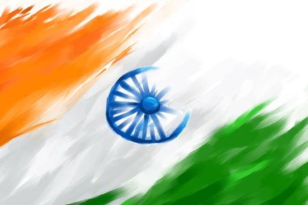 インド共和国記念日のための汚れたインドの国旗のイラスト  イラスト・ベクター素材