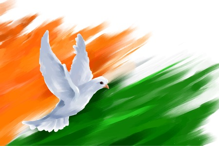 illustration of dove flying on Indian Flag for Indian Republic Day Çizim