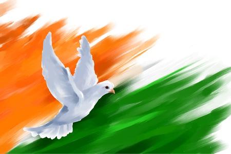 bandera de la india: ilustración de vuelo de la paloma en la bandera de la India para la India Día de la República Vectores