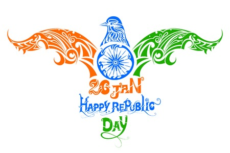 illustration of tricolor bird for Indian Republic Day Illustration