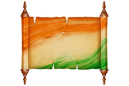 roll paper: illustration of vintage scroll with antique paper in Indian Flag