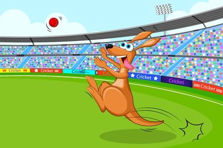 cricketer: vector illustration of kangaroo playing cricket