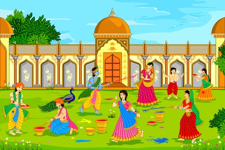 krishna: illustration vectorielle de Radha Krishna jouer Holi Illustration