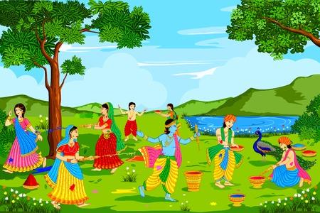 vector illustration of Radha Krishna playing Holi Illustration