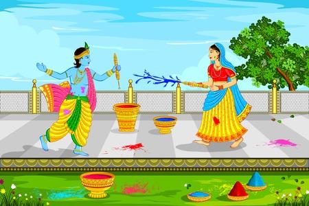 seigneur: illustration vectorielle de Radha Krishna jouer Holi Illustration