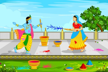 vector illustration of Radha Krishna playing Holi Illustration