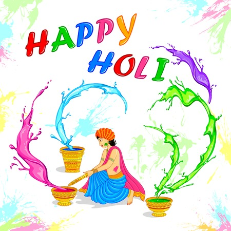 vector illustration of people playing Holi in India Vector