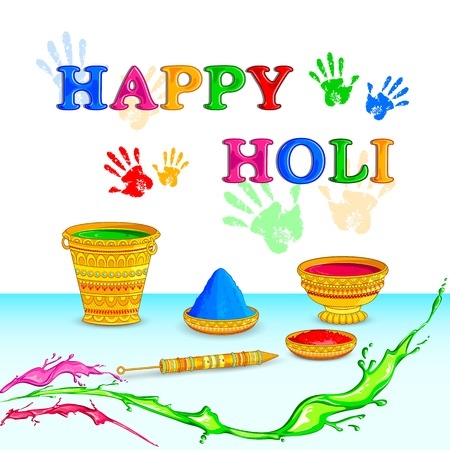 thali: vector illustration of Holi celebration background Illustration