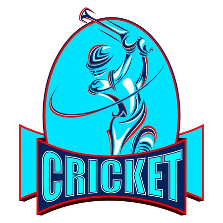 sportsperson: vector illustration of cricket player playing with bat Illustration