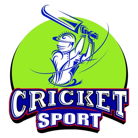 cricketer: vector illustration of cricket player playing with bat Illustration