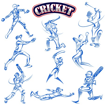 vector illustration of cricket player playing with bat Ilustração