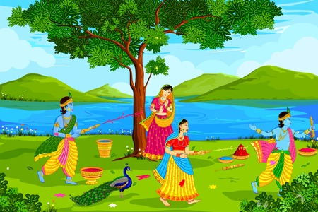 radha: Radha Krishna playing Holi