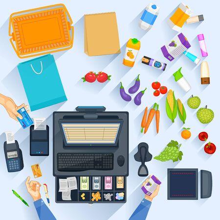to cash: Mesa de trabajo del contador de efectivo de compras