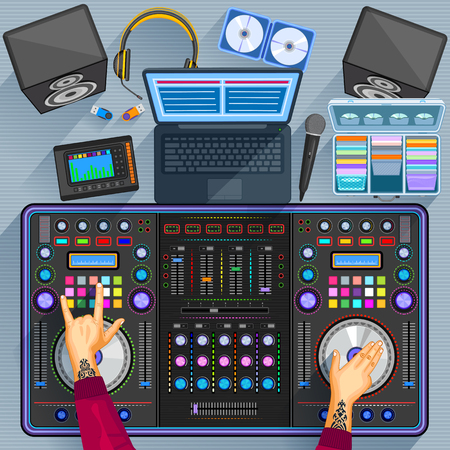 Working table of music disco jockey Vector