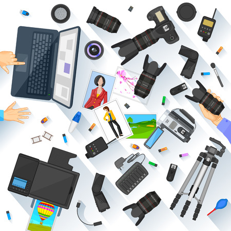 Working table of photographer