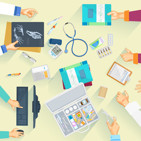 pathologist: Working table of doctor and medical person