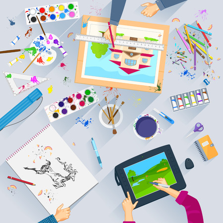 Working table of graphic artist Vector