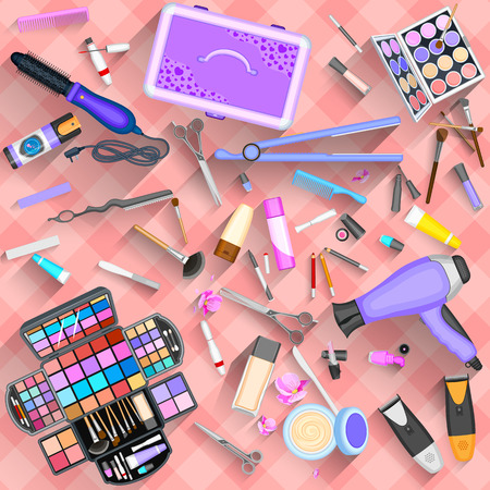 personal grooming: Working table of beautician Illustration