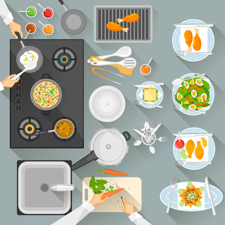 commercial kitchen: Working table of chef
