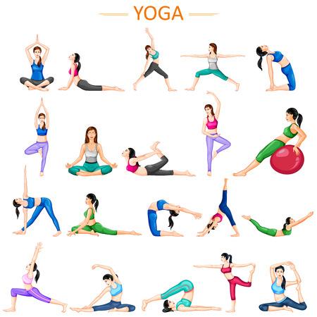 Lady practising yoga for wellness 일러스트
