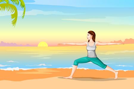 flexible girl: Lady practising yoga for wellness Illustration