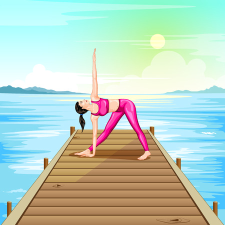 flexible woman: Lady practising yoga for wellness Illustration