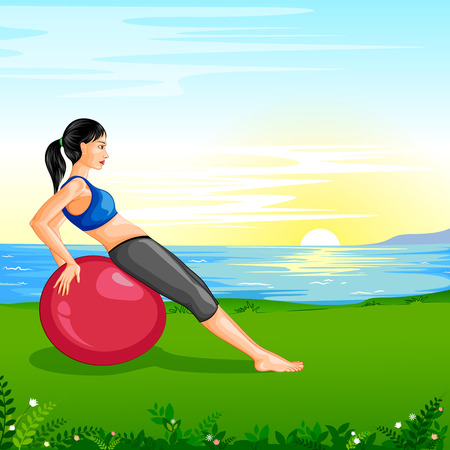 pregnancy exercise: Lady practising yoga for wellness Illustration
