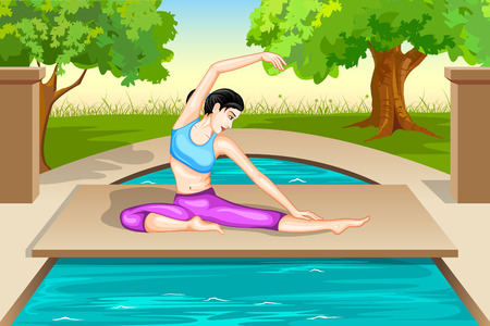 janu: Lady practising yoga for wellness Illustration