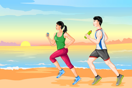 working out: Couple jogging for wellness