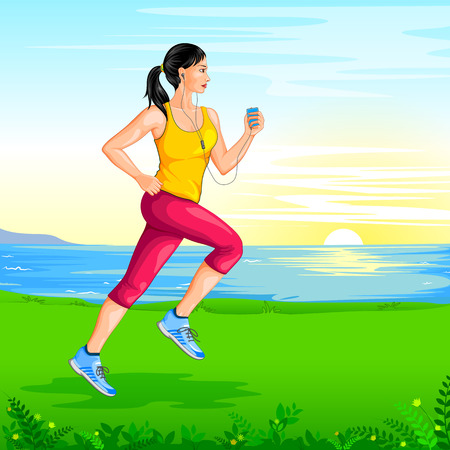 women working out: Lady jogging for wellness