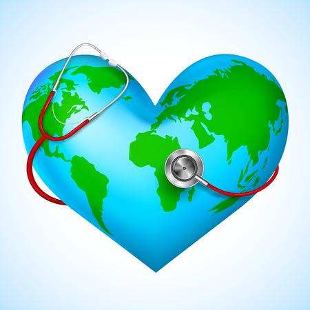 Stethoscope around hearth shaped world Vectores