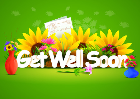 get well: Get well soon wallpaper background Illustration